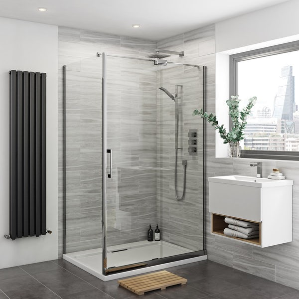 Mode Carter complete suite with bath,  enclosure, tray, shower and taps 1200 x 800