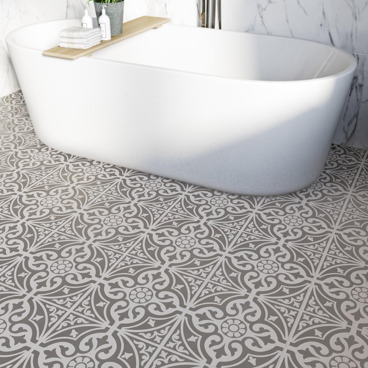British Ceramic Tile Victoriana feature grey matt floor tile 331mm x 331mm