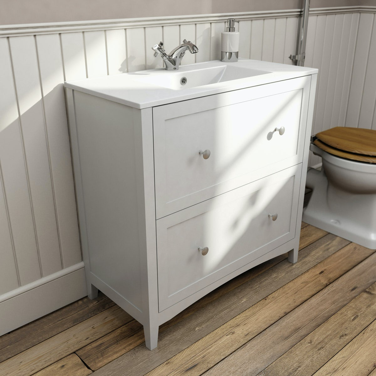 Camberley White 800 Floor Drawer Unit & Basin