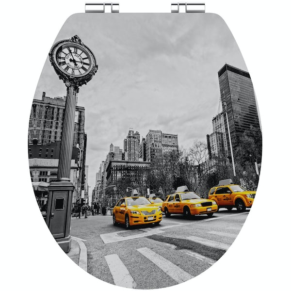 New York taxi acrylic toilet seat with soft close quick release hinge
