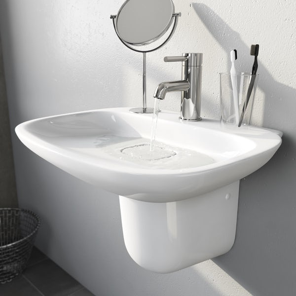 Heath 1TH 500mm Basin and Semi Pedestal