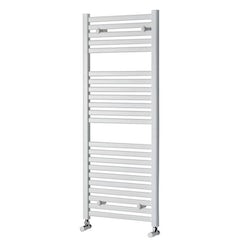 White heated towel rail 1200 x 500