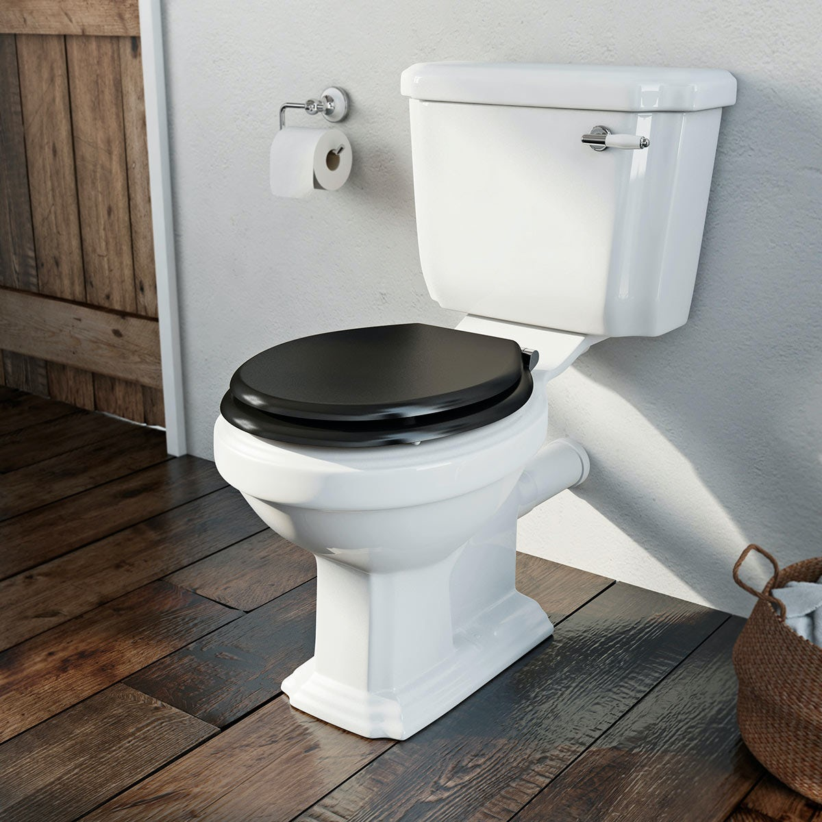 Dulwich close coupled toilet with black wooden toilet seatDulwich close coupled toilet with black wooden toilet seat  . Wooden Black Toilet Seat. Home Design Ideas