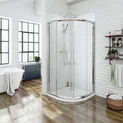 Premium 8mm sliding quadrant shower enclosure with easy clean glass 800 x 800