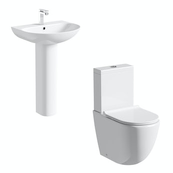 Mode Harrison rimless slimline close coupled toilet and full pedestal basin suite