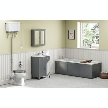The Bath Co. Camberley grey high level furniture suite with straight bath 1700 x 700