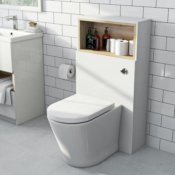 Tate white & oak back to wall toilet unit