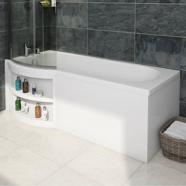 MySpace Water Saving P Shape Shower Bath Left Hand with Storage Panel & 6mm Screen