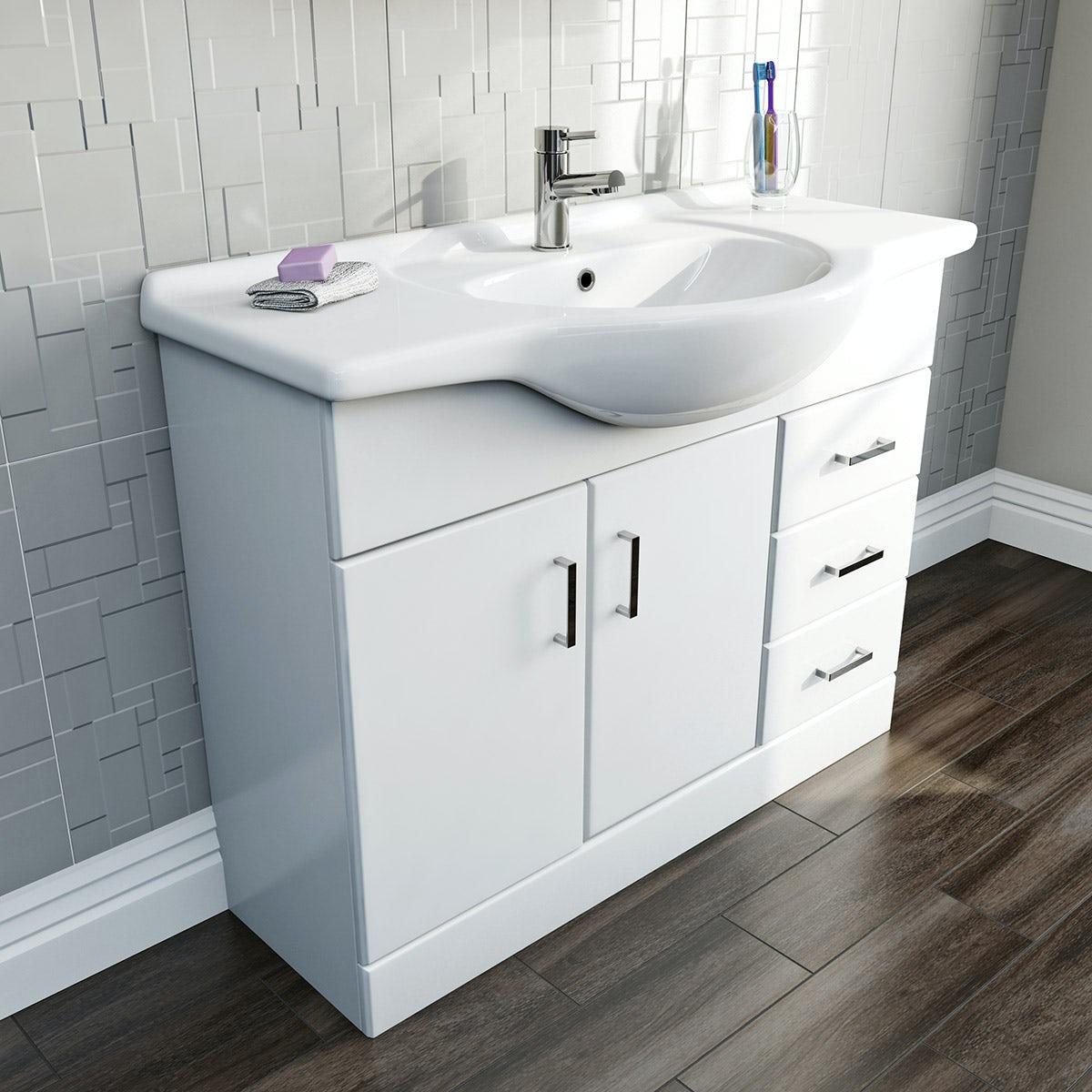 Sienna White 105 Vanity Unit & Basin