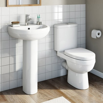 OrchardEden completecloakroom suite with full pedestal basin 550mm with tap and waste