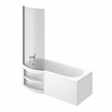 Image of MySpace Water Saving P Shape Shower Bath Left Hand with Storage Panel & 6mm Screen