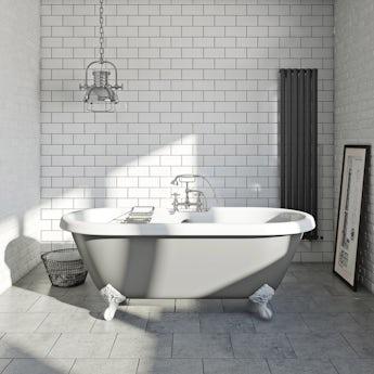 The Bath Co. Dove grey coloured bath with Hampshire shower bath mixer tap