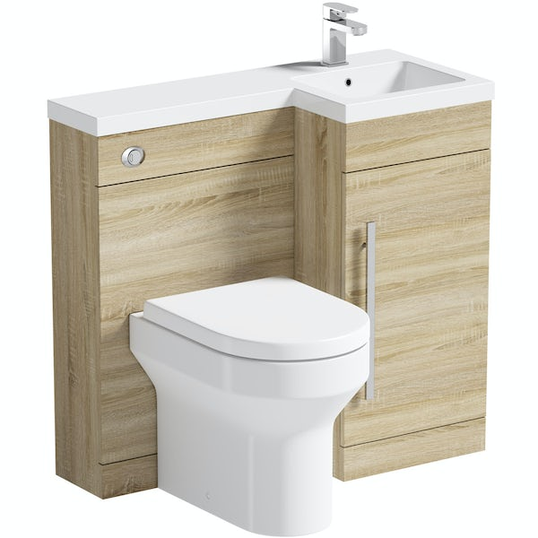 MySpace Oak right handed unit with Oakley back to wall toilet