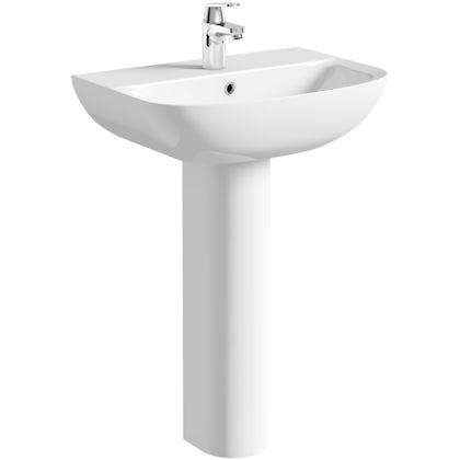 Grohe Bau 1 tap hole full pedestal basin 600mm
