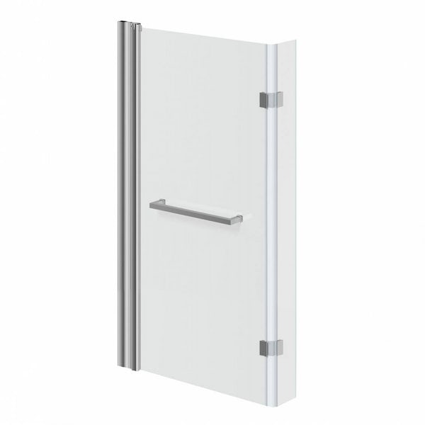 Frameless Hinged Square Shower Bath Screen with Towel Rail