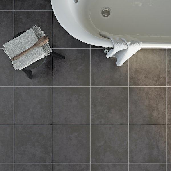 British Ceramic Tile Canvas charcoal grey matt tile 331mm x 331mm