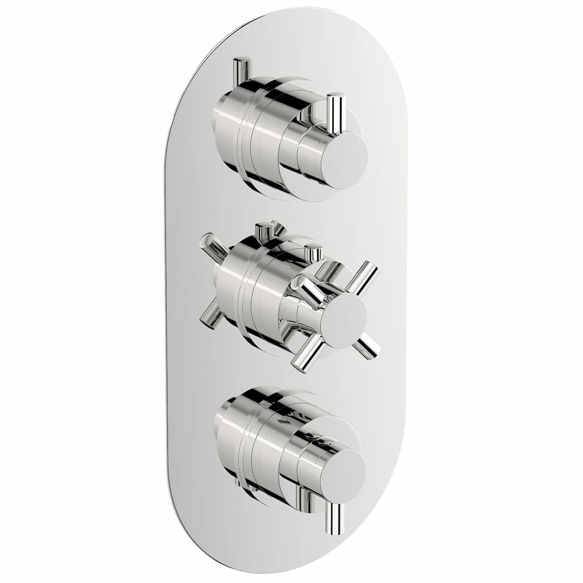 Mode Alexa oval triple thermostatic shower valve with diverter offer pack