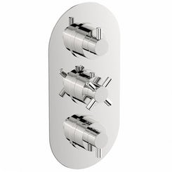Alexa oval triple thermostatic shower valve with diverter