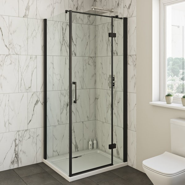 Mode Cooper black hinged shower enclosure offer pack