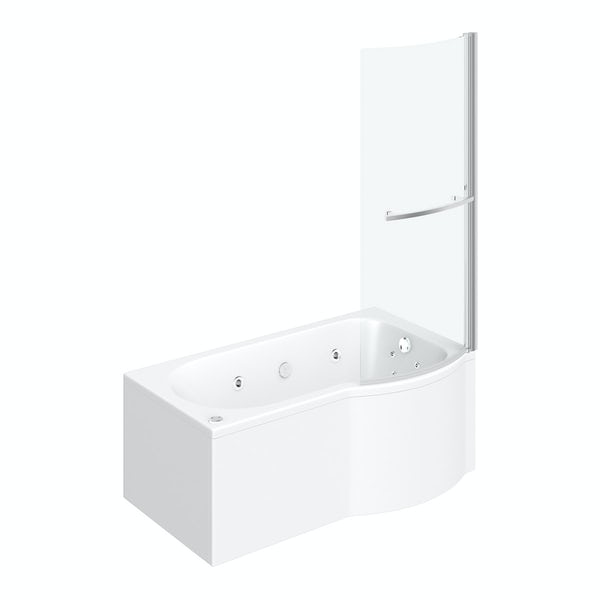 P shaped right handed 12 jet whirlpool shower bath with front panel and screen