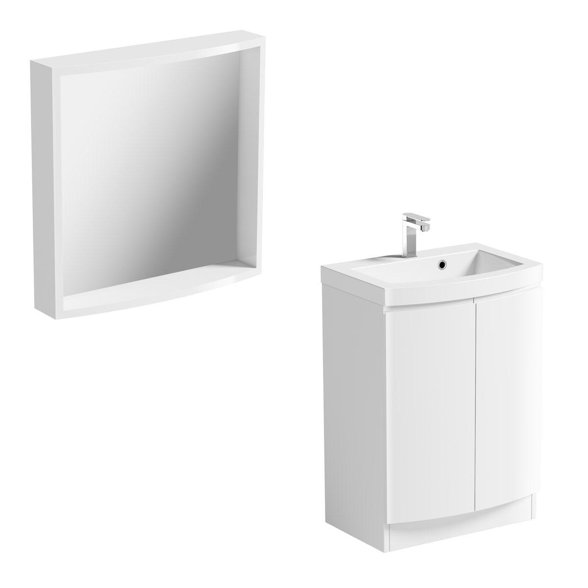 ModeHarrisonsnow floor standing door unit and basin 600mm with mirror