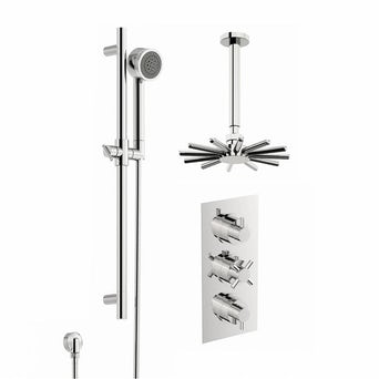 Alexa Thermostatic Triple Valve Complete Shower Set