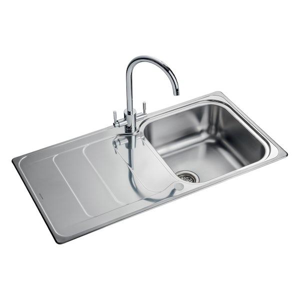 Rangemaster Houston 1 bowl reversible kitchen sink with waste kit