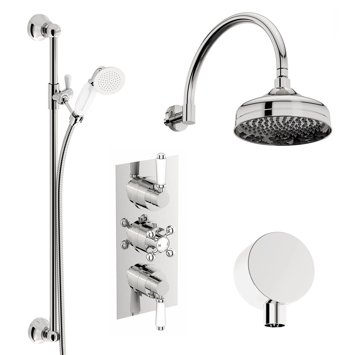 The bath co triple shower valve shower set for Entire bathroom sets