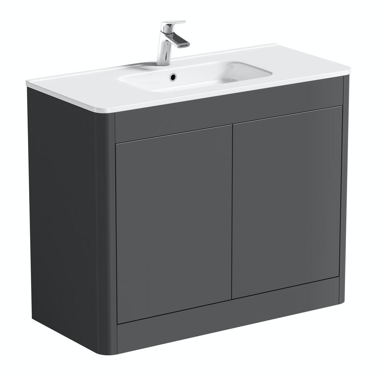 Carter pebble grey 1000 floor mounted vanity unit with basin