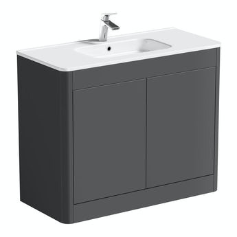 Mode Carter pebble grey floor mounted vanity unit and basin 1000mm