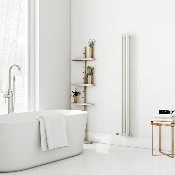 Dulwich vertical white double column radiator 1500 x 155