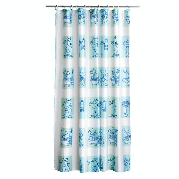 Bath time blue polyester shower curtain