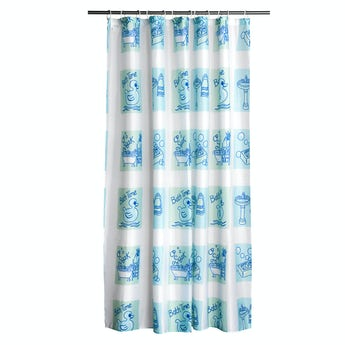 Orchard Bath time blue polyester shower curtain
