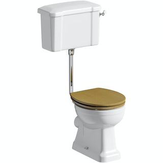 Camberley Low Level Toilet inc Luxury Solid Oak Seat