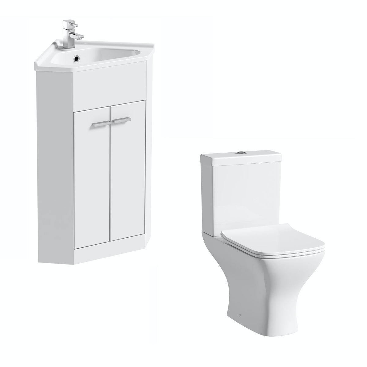 Compact White Corner Unit with Compact Square Toilet