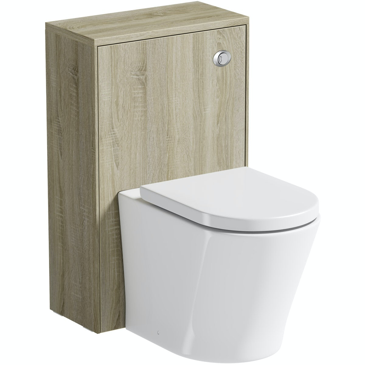 Mode Austin oak back to wall unit with contemporary toilet and seat
