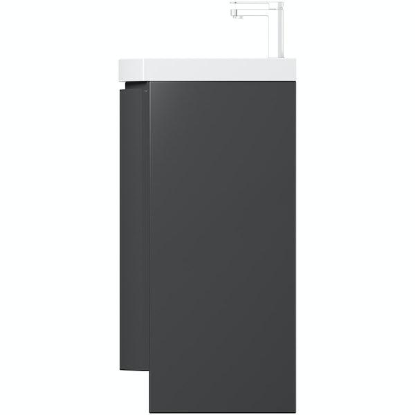 Mode Harrison slate floor standing door unit and basin 600mm