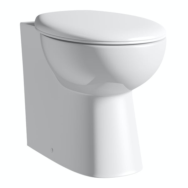 Clarity white slimline back to wall toilet unit and toilet with seat