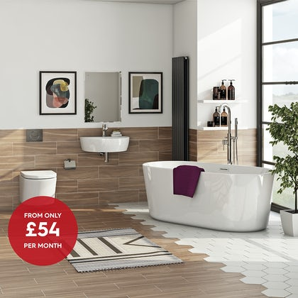 Mode Tate complete bathroom suite with freestanding bath and taps