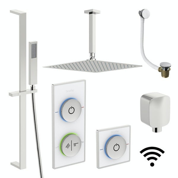 SmarTap white smart shower system with complete square ceiling shower bath set