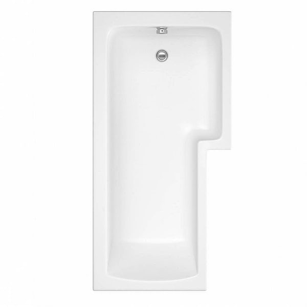 L shaped right handed shower bath 1700mm with 8mm hinged shower screen