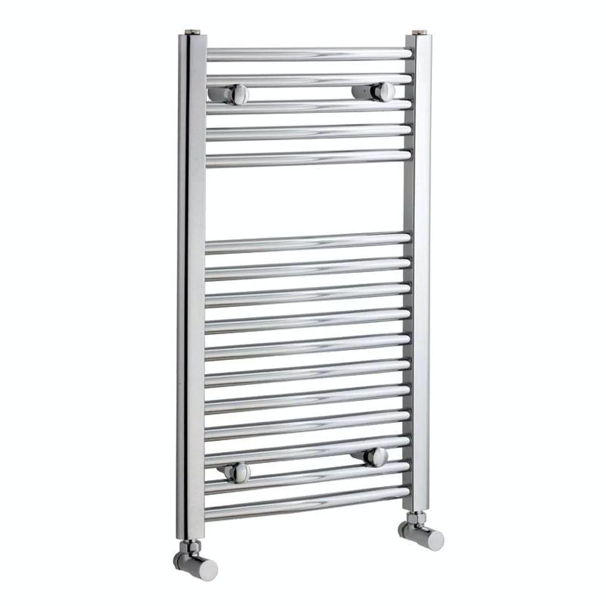 Natasha ladder rail straight modern electric towel radiator in chrome - Curved Heated Towel Rail 750 X 450