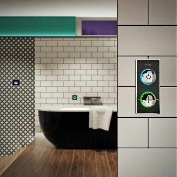 SmarTap white smart shower system with square slider rail and ceiling shower set