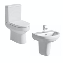 Oakley close coupled toilet suite with semi pedestal basin 550mm