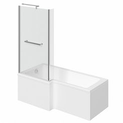 Boston left handed L shaped shower bath 1500mm with 6mm shower screen and rail