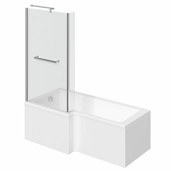L shaped left handed shower bath 1500mm with 6mm shower screen and rail