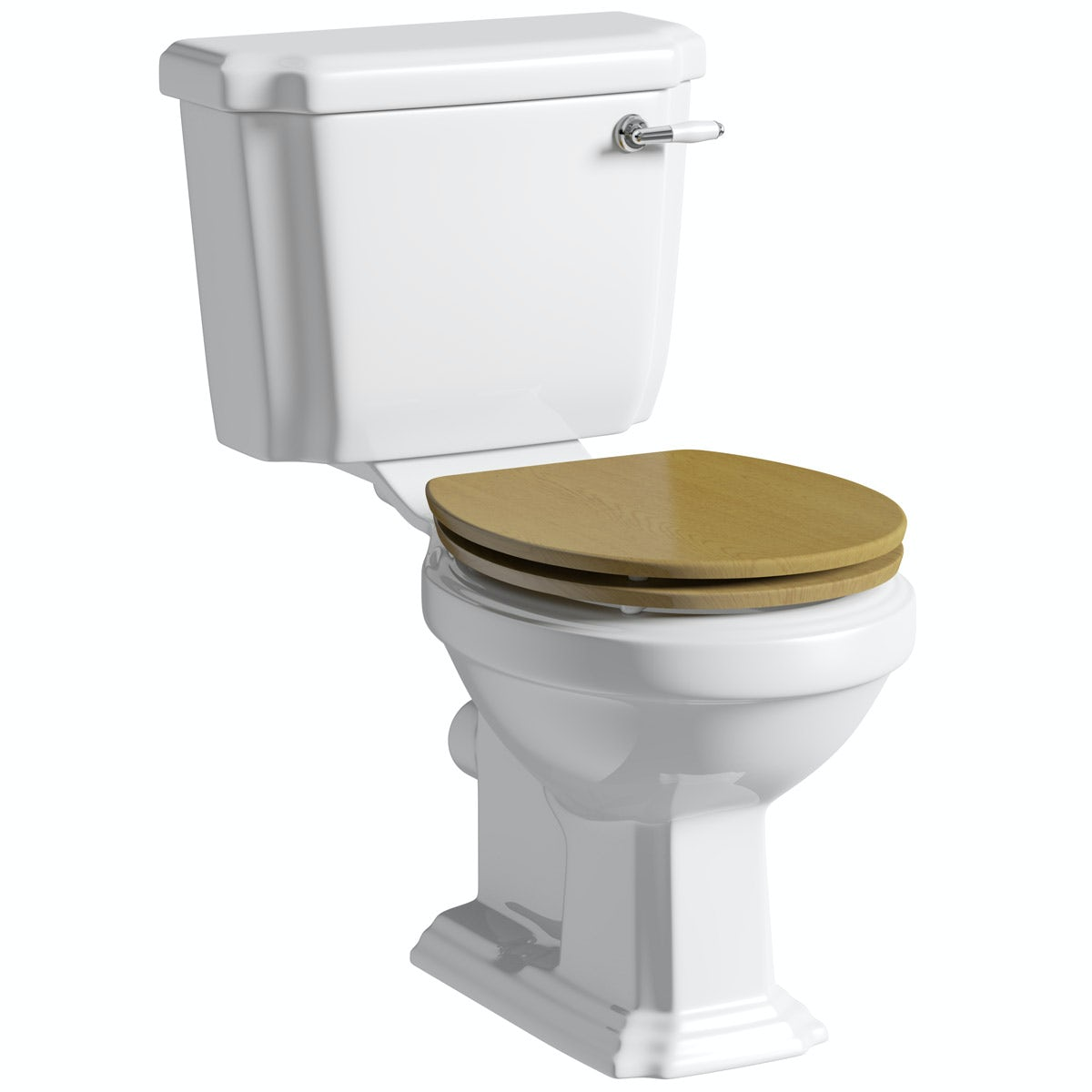The Bath Co. Dulwich close coupled toilet with wooden toilet seat oak effect with pan connector