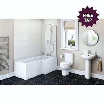Energy Bathroom Suite with Boston 1700 x 850 Shower Bath RH