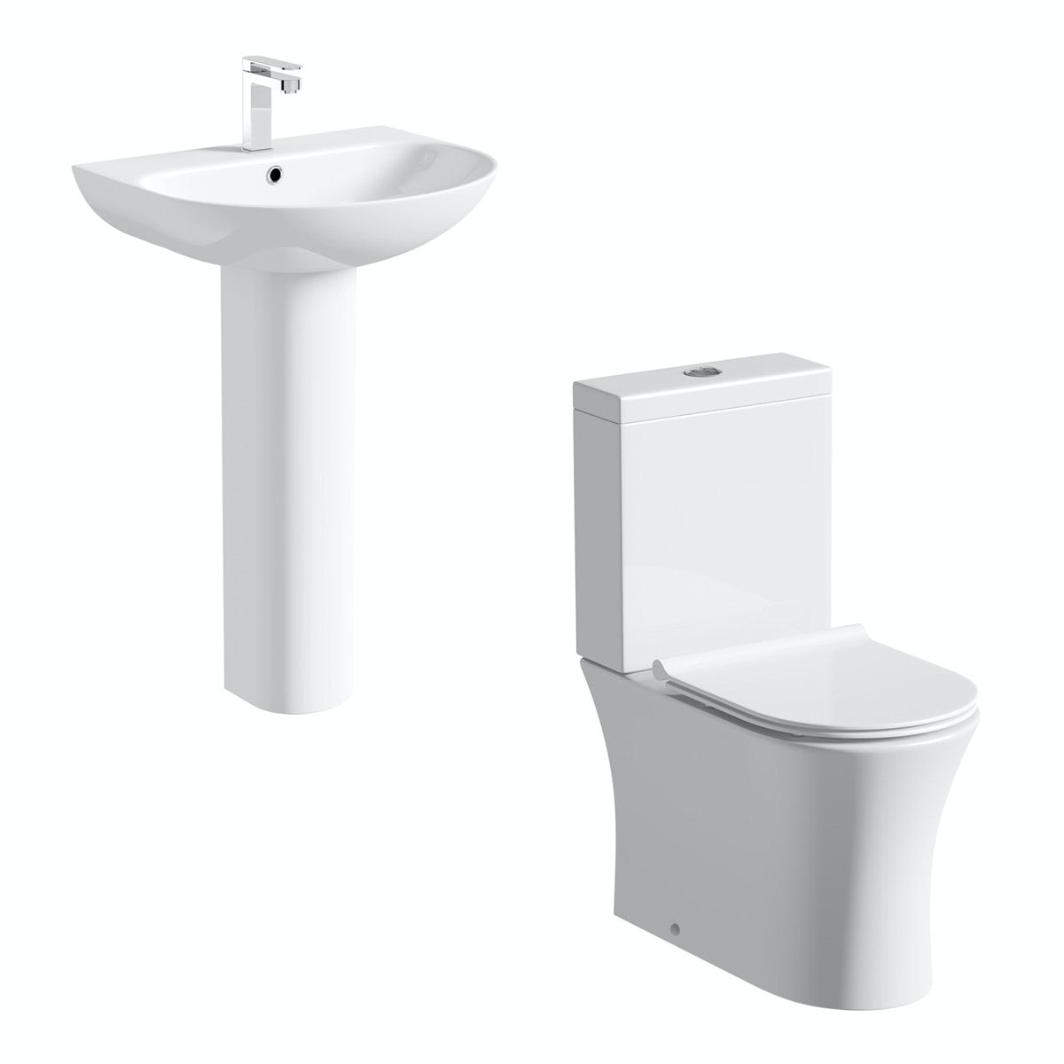 Mode Hardy rimless slimline cloakroom suite with full pedestal basin 555mm