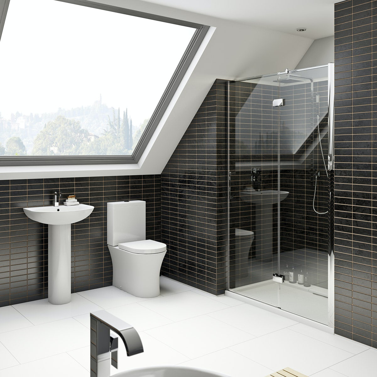 Mode Hardy rimless ensuite suite with 8mm shower door 1200mm
